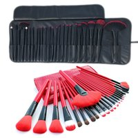 24 ADET Makyaj Fırçalar Setleri Kiti Kırmızı Siyah Renk Profesyonel Kozmetik Kılıf Dudak Göz Farı Vakfı Makyaj Fırça Aracı