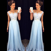 Элегантный свет неба небо синий выпускные платья прозрачные шеи колпачки рукава аппликация шифон длина дола вечерние платья скромные вечерние платья dh4099