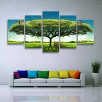 5 pieces high- definition print Big tree canvas oil painting ...