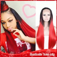 Free shipping 2 tones dark roots ombre red long straight syn...