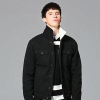 jantour 2017 Hiver chaud noir Denim Jacket Hommes Vêtements Jeans Manteau Homme Casual Outwear Avec Col En Fourrure Laine Épais Vêtements hommes