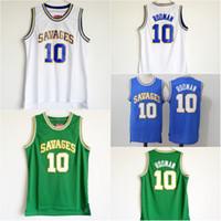 10 Dennis Rodman Oklahoma Wilde Trikots Herren Der Wurm Dennis Rodman Blue White Green College Basketball Uniformen