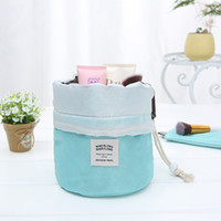 Fashion Barrel Shaped Travel Cosmetic Bag Make Up Bag Drawst...