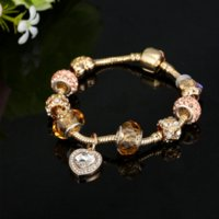 HOMOD Cor De Ouro Antigo Pandora Charm Bracelet Bangle com Amor Coração de Cristal Pingente de Mulheres de Casamento Presente do Dia das Mães
