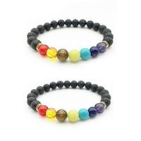 8mm Black Lava Stone Beads Energy Bracciale Bracciale Diffusore per gioielli Regalo 7 Chakra Reiki Bracciale
