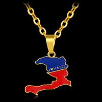 نيو أمريكا الشمالية هايتي خريطة قلادة لون الذهب قلادة من أنا الحب هايتي خريطة العلم الرجال / النساء والمجوهرات