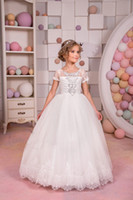 2018 White Lace Tulle Flower Girl Dress Wedding party Holida...