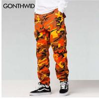 GONTHWID Cor Camuflagem Calças De Carga 2017 Mens Moda Baggy Tático Calças Hip Hop Algodão Casuais Multi Bolsos Calças Streetwear