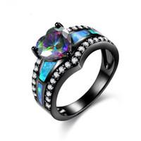 Rainbow Color Heart Zircon Blue Fire Opal Rings For Women Vi...