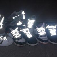 10 زوج واضح مزدوج الجانب العاكس السلامة مضيئة متوهجة الحذاء للجنسين الأحذية الرياضية كرة السلة قماش