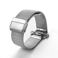 Умные ремешки для часов Милан сетчатый ремень из нержавеющей стали 316 Браслет на запястье Спортивный ремешок для ремешка для Apple Watch Series 38 / 42mm Универсальная модель Silver