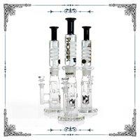 Phoenix Black White Gerade Fab Jet PERC Gefrierbare Spulenrohr Bong Glas Wasserleitung Bauen Sie eine Glycerin-Wasserhaare auf
