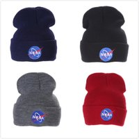 NASA Knitted Hat Winter Warm Casual Acrylic Slouchy Hat Croc...