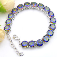 LuckyShine Round Colorful Blue Natural Mystic Topaz 925 Ster...