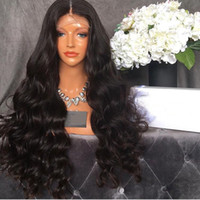 Hot Selling Middle Parting Black Body Wave Synthetic Lace Fr...
