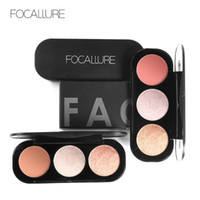 FOCALLURE New Arrivel 3 Colors Blush&Highlighter Palette Fac...