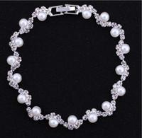 Bon marché Perles de mariée Perles de mariée ornée Accessoires Crystal Bracettes Perles Bridal Hand Accessoires Mariage Bijoux Chaîne