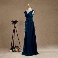 Gorgoues Dusty Blue Evening Dresses V Neck Sleeveless Appliq...