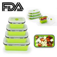 FDA силиконовые складной Бенто коробка обеда складной хранения еды чаша контейнер микроволновая печь мыть в посудомоечной машине экологичный 350/500/800 / 1200ml 4шт