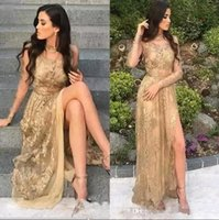 Golden Lace Long Prom Dresses 2018 Sheer Long Sleeves High S...