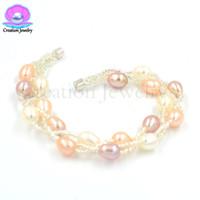 7 pollici Moda perle d'acqua dolce Bracciale da donna Fermagli magnetici Catena a mano Natale Compleanno Festa di nozze Regali per fidanzate per bambini