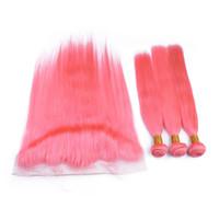 Rosa Menschliches Haar mit Spitze Frontal Silk gerade Malaysian Virgin Remy Haar-Verlängerung und 13x4 Spitze Frontal Closure 4Pcs / Lot