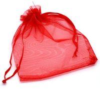 Sıcak satışlar ! 100pcs KIRMIZI İpli Organze Hediye Çanta 7x9cm 9x12cm 10x15cm Düğün Noel takı Bags Favor