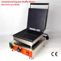Ticari Belçika Kare Waffle makinesi Yapışmaz Kek Makinesi 4 Kalıpları 110 V / 220 V 1500 W CE Onay Yepyeni