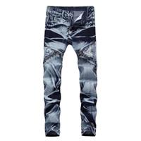 Yeni Moda Baskılı Biker Jeans Erkekler Fermuar Ile Pantolon Yırtık Sıska Delik Pantolon Newsosoo Marka Vintage Pantolon Erkekler Için pantolon