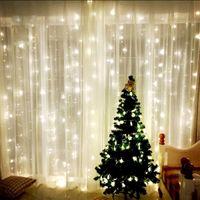 9.8ft X 9.8ft 3X3M 300LEDs أضواء زفاف عيد الميلاد سلسلة عيد ميلاد الحزب في الهواء الطلق ديكور المنزل الجنية الستار أكاليل