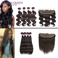Brazilian Hair Bundles With Lace Frontal Closure 8A Grade Br...