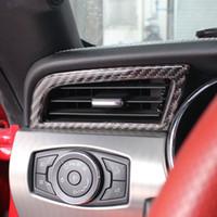Fibra di carbonio Side Console del condizionatore d'aria di uscita Telaio 2pcs trim per Ford Mustang 2015-2017 strisce interni della decorazione di cunicoli di ventilazione della copertura