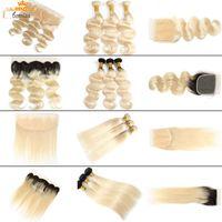 Bemiss Hair® Brasilianische Körperwelle 613 Blonde Menschenhaar Bundles mit Verschluss Unverarbeitete Reine Haar Gerade 1b 613 Bundles mit Frontal