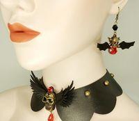 Envío gratis pendientes de moda retro europeos y americanos pendientes de murciélago negro día de Halloween cráneo elegante clásico elegancia exquisita