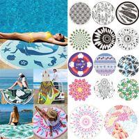 Nova fibra venda de poliéster quente de secagem rápida sem areia Toalha de praia Circular portátil impressa piquenique toalha de praia T4H0268