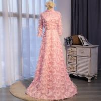 a46fee6303f Robes de demoiselle d honneur rose élégant col haut manches longues robe de  bal longueur
