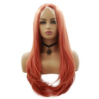 "28"" Long Lace Front Wig Orange Color Natural Wavy Synth..."