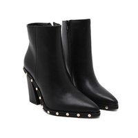New short boots fashion pointed rivet decorative thick with ...