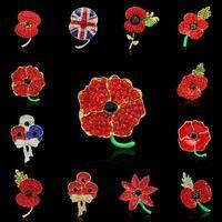 Spilla Fiore di papavero Fiore di papavero in cristallo rosso Spilla in oro Spilla Royal British Legion britannica per donna