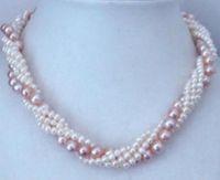 bijoux de perles naturelles de torsion WhitePurple Akoya Collier de perles de culture
