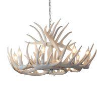 Moderne blanc wapiti lustre créatif branche antler résine LED lampes salon salle à manger lustre bar éclairage G191