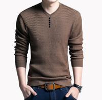 Maglione Uomo Casual con scollo a V Pullover Autunno Slim Fit Camicia a maniche lunghe Uomo Maglioni in maglia di lana cachemire Pull Homme