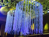 2021 Romantic Silk Flowers Artificial Festa de Casamento Simulação Wisteria Videira Longa Planta Home Room Office Garden Arch Decoração Flores