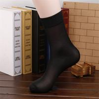 10 Paare / los Hohe Qualität Marke Männer Business Casual Black Seide Socken Frühling Sommer Männliche Schwarz Dünne Socken FT108