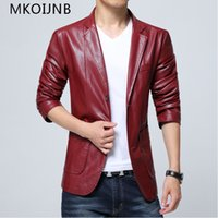 New 2018 Men Jacket Spring&Autumn PU Leather Black&White red...