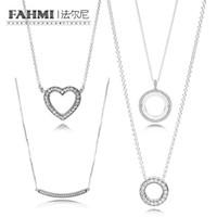 FAHMI 100% de plata esterlina Glamour 397410CZ 397420CZ 397436CZ Charm Necklace Original Mujer joyería de moda de boda 2018