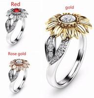 CZ pedra anel jóias baga femme cor prata cor bonito ouro girassol de cristal anéis de casamento para mulheres presente