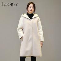 여성용 양모 혼합 Manteau Femme 2021 화이트 긴 드레스 진짜 모피 코트 겨울 두꺼운 후드 고품질 여성 양고기 코트
