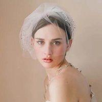 Nova chegada curta véu de nupcial multi camadas macias tulle festa de casamento birdcage véu cobrir o rosto com cristais impressionantes de alta qualidade