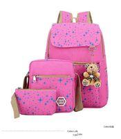 Moda Tuval Kız Okul Çantaları Gençler sırt çantası kadın omuz çantaları 3 Adet / Set sırt çantası mochila sırt çantası ZDD7175
